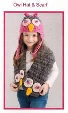 Owl Hat & Scarf Crochet PATTERN Big Eyes Cute Winter Accessories Fashion Gear