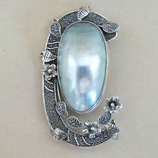 Sterling Silver Brooch Art Deco Mabe Blister Pearl 22.9g [4399]