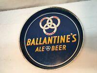 """Vintage BALLANTINE BEER Tray Metal Serving tray 12"""" BAR Mid Century Barware"""