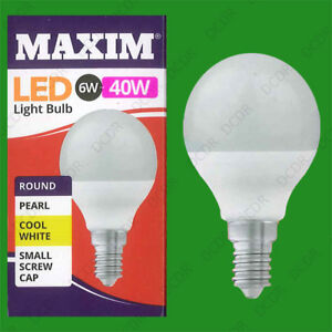 8x 6W (=40W) Pearl G45 Golf Ball LED Light Bulb, Round E14 SES Cool White Lamp