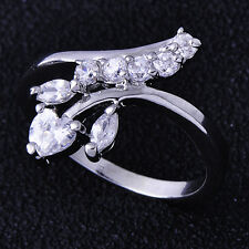 Stunning Women Ring Bright clear crystal White Gold plated Size 5 Free Shipping