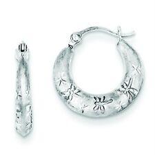.925 Sterling Silver 2.8mm Diamond Cut Dragonfly Hinged Post Hoop Earrings