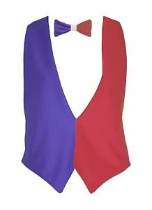 Adults France French National Flag Backless Waistcoat & Bowtie Set