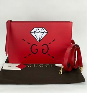 GUCCI Red Calfskin Leather Diamond GG Messenger Shoulder Bag B398 Authentic