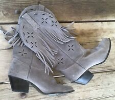 Vintage Kenny Rogers Fringe Cowboy Boots Gray Suede 7 M Made In Usa 70s 80s