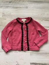 Kate Spade Girls Cardigan Long Sleeve Pink & Black Button Up Sweater Sz 2 Euc