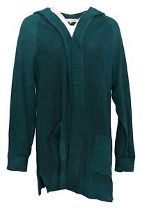 Isaac Mizrahi Live! Women's Sz L Open Front Hooded Cardigan Green A387527