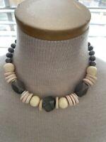 Vintage Taupe Tan Wood & Bead Necklace Boho Chunky Choker Necklace A108