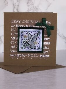 Completed Cross Stitch Dove Christmas Card 4x4 Inch