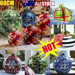 60cm Outdoor PVC Inflatable Ball Toy Christmas Ball Xmas Tree Decor No Lights