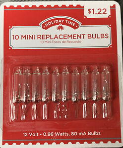 Holiday Time  - 1 Pack of 10 Mini Replacement Bulbs - Clear - 12V - Volts