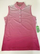 Sleeveless Golf Shirt. Gradient shades of pink with black stripes. Small