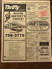 Wayne Gretzky Phone Book Yellow Pages Thrifty Car Rental 1990's Brantford issue