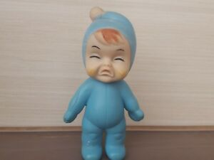 rare VINTAGE BEAUTIFUL Blue baby boy Crying Squeeze RUBBER TOY japan japanes