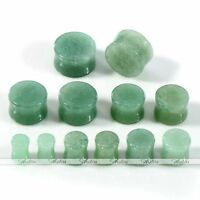 Natural Organic Green Aventurine Saddle Double Flared Ear Plugs Stretcher Hot