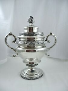 Massive Antique G. Boyce Coin Silver Floral Lidded Sugar Bowl
