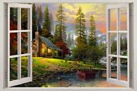 Cabin In The Woods 3D Window View Decal WALL STICKER Decor Art Mural Scenic View