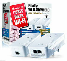 DEVOLO POWERLINE 1200+ 9392 WiFi PASS-THROUGH TWIN LAN STARTER KIT FREE DELIVERY