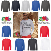 1 3 5 Pack Fruit of the Loom Mens Long Sleeve T Shirt Plain T Shirt Top Sale Lot