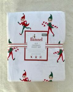 Pottery barn Kids Flannel Elf Organic Twin Sheet Set red green Christmas Santa