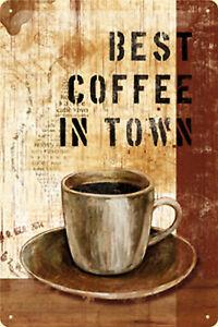 Nostalgic ARt Best Coffee En Ville Panneau Métallique en Relief 20 X 30 CM