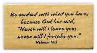 Be content.. bible verse mounted rubber stamp, religious, Christian scripture #6