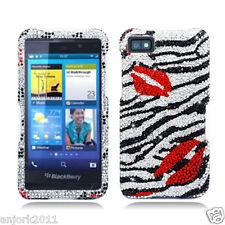 BlackBerry Z10 Laguna Diamond Hard Snap-On Case Cover Silver Black Zebra Kiss