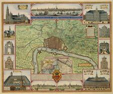 Reproduction City Plan VINTAGE OLD COLOUR 1687 Map Antwerpen Antwerp Belgium NEW