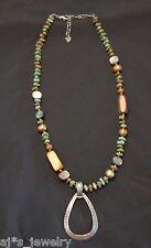 SILPADA - N1786 - Shell Blue-Green Howlite Wood Pearl Pendant Necklace - RET