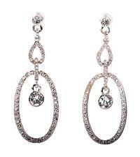 57b161e53 Swarovski Elements Crystal Oval Loops Pierced Earrings Rhodium Authentic  7330z