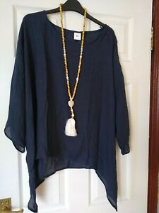 LADIES OVERSIZED LIGHT NAVY TOP SIZE XL LARGE 16