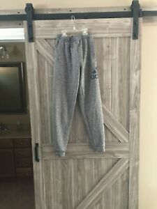 BOYS YOUTH ADIDAS LARGE 14 16 BASKETBALL LEGGINGS PANTS SWEATPANTS GRAY