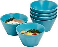 Bruntmor Ceramic Dessert Bowls Japanese Salad Serving Bowls 13 OZ Set of 6 Teal