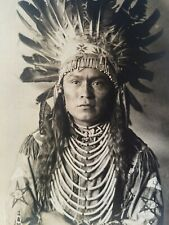 Vintage Postcard RPPC Photo Native American Indian Chief Headdress AZO 1920s Man