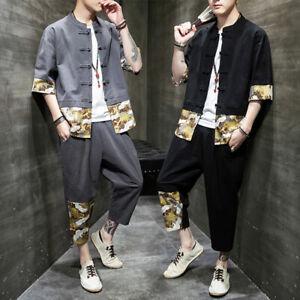 Tang Suit Cotton Linen Suits Chinese Style Mens Retro Summer Shirts Pants 2pcs