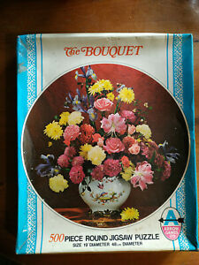 RM66) Arrow Games Ltd 500 piece round Jigsaw Puzzle The Bouquet (unchecked) 1970