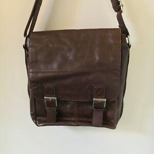 Fossil Large Dark Brown Leather Satchel Bag