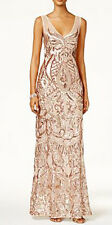 Adrianna Papell New Petite V-Neck Sequined Illusion Gown Size 12P #IN 157