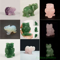 Hand Carved Natural Jade Stone Craving Elephant Owl Cat Statue Ornament 1.5 inch
