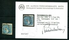 Autriche 1851 6 carton papier estampillé constat FB VÖB 170 € (k7483