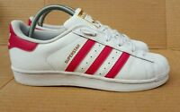 ADIDAS SUPERSTAR SHELL TOE WHITE AND PINK TRAINERS SIZE 5 UK GOLD LOGO BOXED