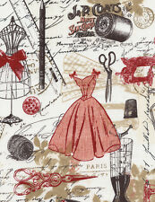 Timeless Treasures Vintage Dressmaking Sewing 100% cotton fabric by the yard