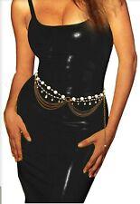 Sexy Chain Fashion Belt Bronze Pearl Metal S M USA NEW