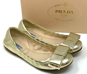 PRADA Logo Ribbon Ballet Shoes Flats #37 US 6.5 Metallic Gold Leather RankAB