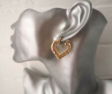Gorgeous 3cm small gold tone heart shape bamboo style creole hoop earrings