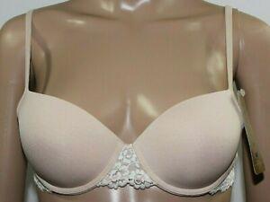 Wacoal Beige Ivory Embrace Lace Trim Petite Push-up Underwire Bra 75891 NWT 36AA
