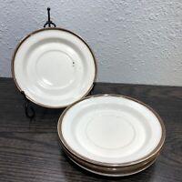 """Dansk Designs Norway NR Brown Mist 6 1/4"""" Saucers Set Of 4 WhIte / Brown"""
