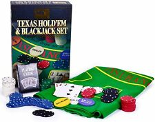 Texas Poker & Blackjack Set Includes Poker Chips, Deck of Cards and Mat - Gift
