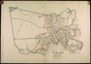 1911 SALEM, MASSACHUSETTS, INDEX PAGE PEABODY TO MARBLEHEAD PLAT ATLAS MAP