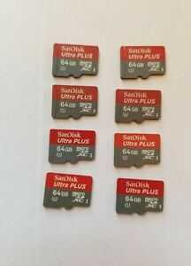 8x SanDisk 64GB Ultra Plus Micro UHS 1 SD Cards 80MB/s = 512GB